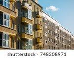 gdr brick plattenbau buildings | Shutterstock . vector #748208971