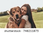 her best friend. beautiful... | Shutterstock . vector #748211875