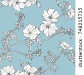floral seamless pattern with... | Shutterstock .eps vector #748215715
