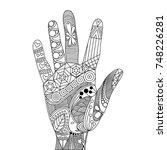 zen tangle palm. zen tangle... | Shutterstock .eps vector #748226281