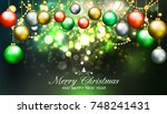christmas background with... | Shutterstock . vector #748241431
