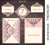 laser cut wedding invitation... | Shutterstock .eps vector #748246285