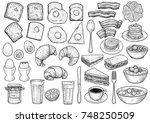 breakfast collection... | Shutterstock .eps vector #748250509