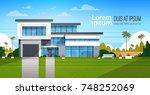 modern cottage house exterior ...   Shutterstock .eps vector #748252069