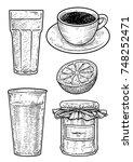 coffee  milk  jam and orange... | Shutterstock .eps vector #748252471