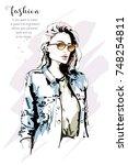 hand drawn beautiful stylish... | Shutterstock .eps vector #748254811