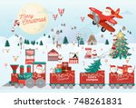 christmas greetings template... | Shutterstock .eps vector #748261831