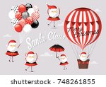 santa claus in different poses... | Shutterstock .eps vector #748261855