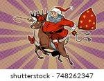 Santa Claus Rides On Deer. New...