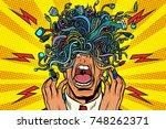 panic people wire adapter... | Shutterstock .eps vector #748262371