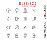 business outline icons | Shutterstock .eps vector #748265101