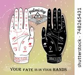 hand drawn palmistry vector... | Shutterstock .eps vector #748265431