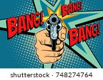 bang sound of a shot revolver... | Shutterstock .eps vector #748274764