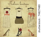 vintage fashion boutique set ...