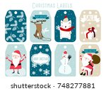christmas labels and decoration | Shutterstock .eps vector #748277881
