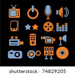 media   music icons  signs ... | Shutterstock .eps vector #74829205