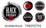black friday. banner on black... | Shutterstock .eps vector #748292701