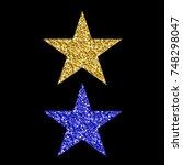 gold blue glitter star isolated ... | Shutterstock . vector #748298047