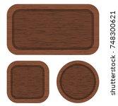 set of different brown wood... | Shutterstock . vector #748300621