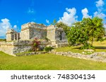 temple ruins in tulum of the... | Shutterstock . vector #748304134