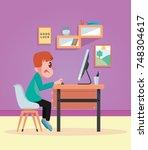 a boy on computer | Shutterstock . vector #748304617