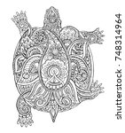 Turtle Sketch. Silhouette Of A...