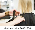 close up of a scissor in action ... | Shutterstock . vector #74831758