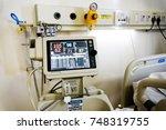 vital signs monitor healthcare... | Shutterstock . vector #748319755