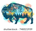 buffalo bison color tattoo art. ... | Shutterstock .eps vector #748321939