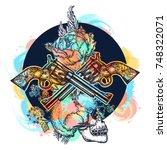 skull  crossed guns  rose ... | Shutterstock .eps vector #748322071