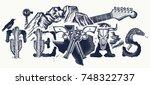 texas tattoo and t shirt design.... | Shutterstock .eps vector #748322737