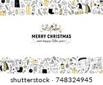 vector christmas and new year... | Shutterstock .eps vector #748324945