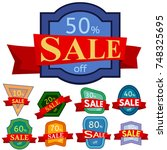 set of different nine discount... | Shutterstock . vector #748325695