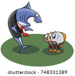 the chief of the shark swears... | Shutterstock .eps vector #748331389
