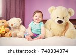 cute smiling little baby girl... | Shutterstock . vector #748334374