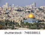 jerusalem  view of the old town ... | Shutterstock . vector #748338811