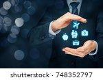 insurance concept. businessman... | Shutterstock . vector #748352797