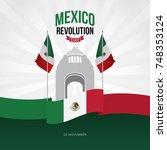 mexico revolution day vector... | Shutterstock .eps vector #748353124
