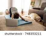 shot of a woman doing exercise...   Shutterstock . vector #748353211
