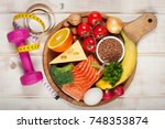 healthy lifestyle concept.... | Shutterstock . vector #748353874