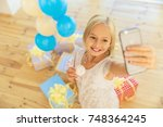 little birthday girl smiling ... | Shutterstock . vector #748364245