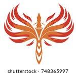 rising phoenix vector... | Shutterstock .eps vector #748365997