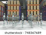 many robots in a large... | Shutterstock . vector #748367689