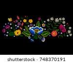 embroidery landscape pattern... | Shutterstock .eps vector #748370191