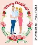 pregnant couple christmas card | Shutterstock .eps vector #748374265