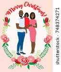 pregnant couple christmas card | Shutterstock .eps vector #748374271