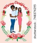 pregnant couple christmas card | Shutterstock .eps vector #748374295
