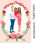 pregnant couple christmas card | Shutterstock .eps vector #748374301