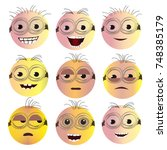 set of creative smiley faces... | Shutterstock .eps vector #748385179