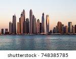 dubai skyscrapers. dubai marina ... | Shutterstock . vector #748385785